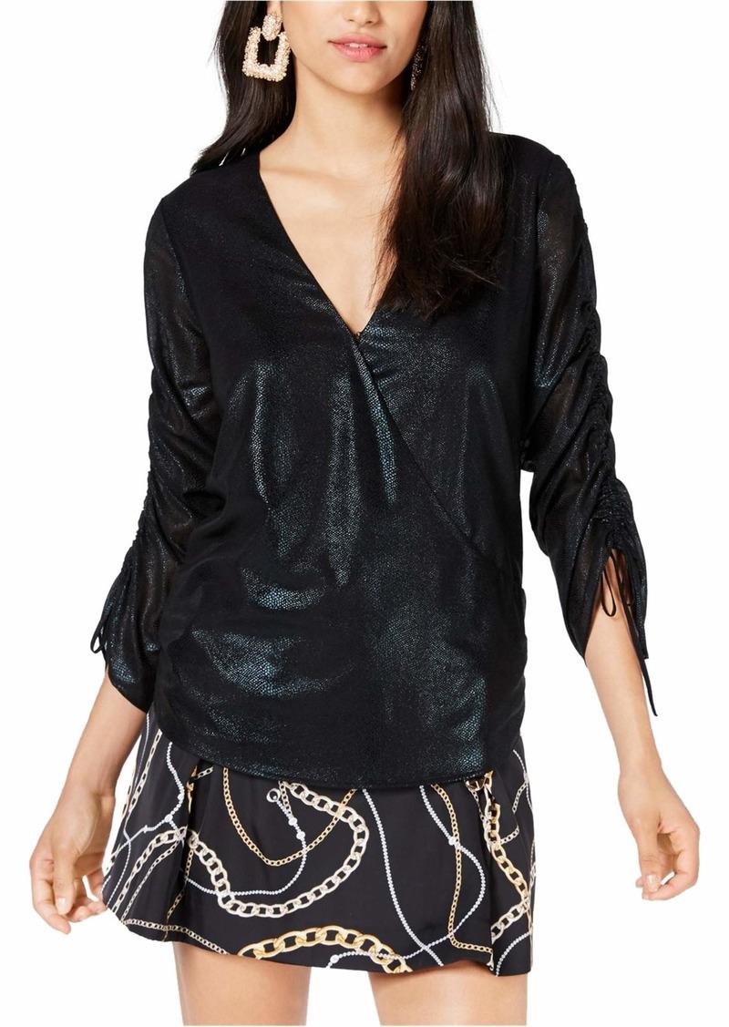 GUESS Women's Long Jewel Foil Chiffon Shirred Sleeve Top  L