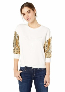 GUESS Women's Long Logo Sequin Sleeve Sweatshirt  M