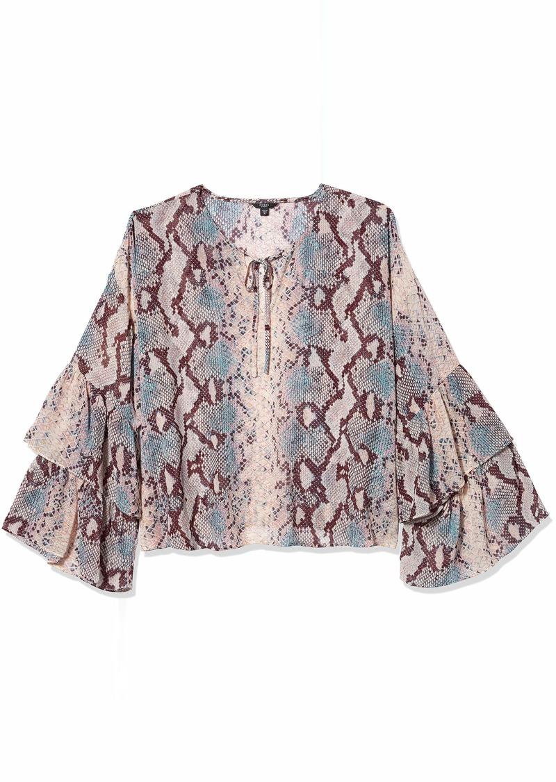 GUESS Women's Long Serasota Ruffle Sleeve Top  XL