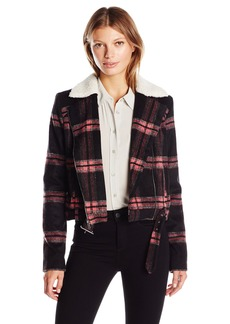 Guess Women's ong Sleeve Abbot Jacket Rocker Plaid arge Jet Black