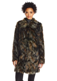 Guess Women's Long Sleeve Abigal Natural Faux Fur Coat  S