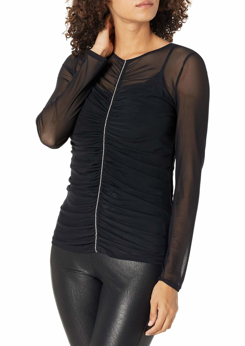 GUESS Women's Long Sleeve Alex Mesh Top