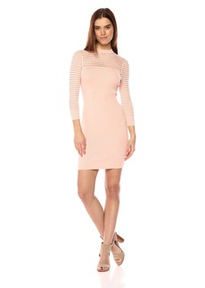 GUESS Women's Long Sleeve Alison Pointelle Yoke Dress  M