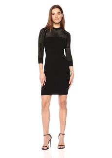 GUESS Women's Long Sleeve Alison Pointelle Yoke Dress  XS