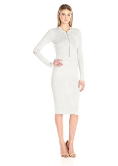 Guess Women's Long Sleeve Allison Half Zipped Sweater Dress  L