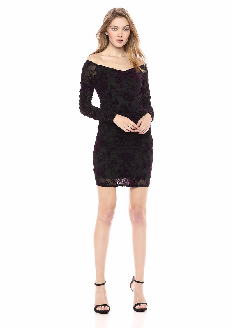 GUESS Women's Long Sleeve Amber Ruched Dress  XS