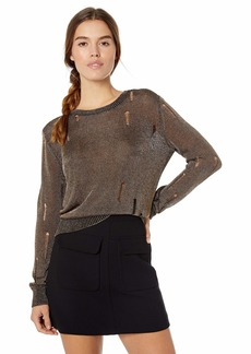 GUESS Women's Long Sleeve Angeleica Destroy Sweater  XL