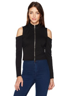 GUESS Women's Long Sleeve ASA Zip Mock Neck Top