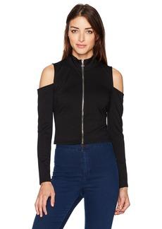 GUESS Women's Long Sleeve ASA Zip Mock Neck Top
