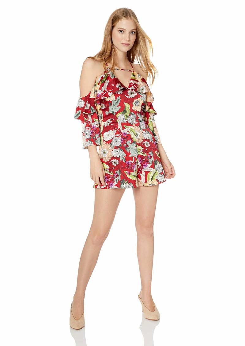GUESS Women's Long Sleeve Aurora Ruffle Romper Garden Fever Print Sultry red M