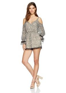 GUESS Women's Long Sleeve Beverly Surplice Romper  XS