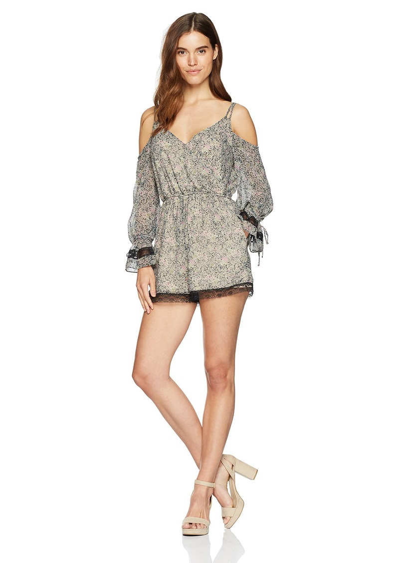 GUESS Women's Long Sleeve Beverly Surplice Romper  XS