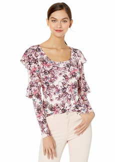 GUESS Women's Long Sleeve Bianka Ruffle Top Hyper Bloom Print Rose dust L