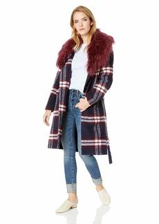 GUESS Women's Long Sleeve Biggie Wrap Coat deep Ink Multi L
