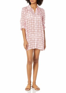 GUESS Women's Long Sleeve Button Down Printed Swim Cover-UP