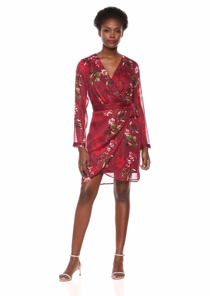 GUESS Women's Long Sleeve Camilla Dress plumier Floral Garnet Wine 2