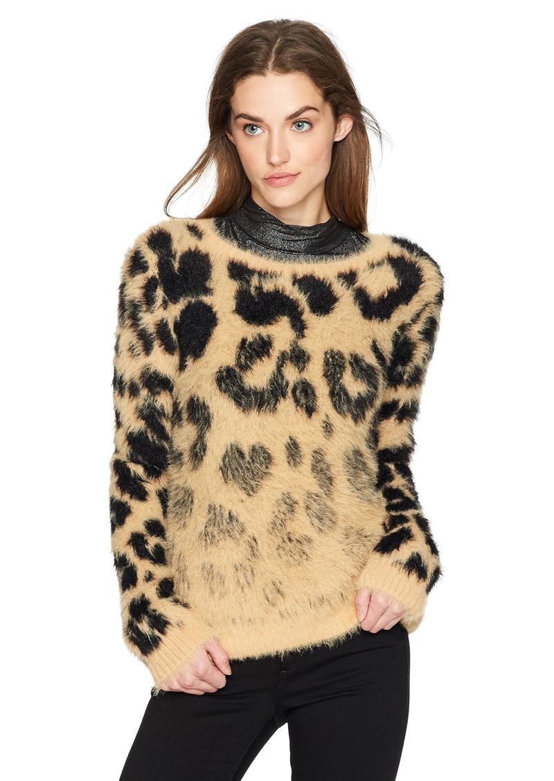 GUESS Women's Long Sleeve Carina Jacquard Sweater Leo camo Natural M