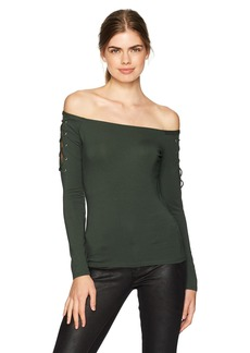 GUESS Women's Long Sleeve Catrina Off Shoulder Lace Up Top deep Forest