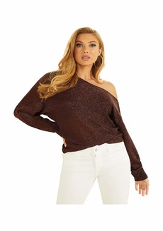 GUESS Women's Long Sleeve Catrina Off The Shoulder Lurex Cord Sweater