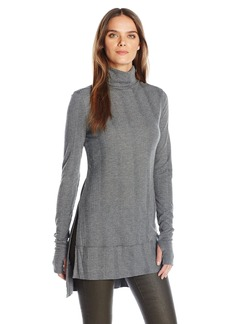 Guess Women's Long Sleeve Courtney Ribbed Key Hole Tunic Top  XS