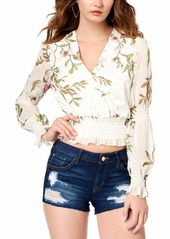 GUESS Women's Long Sleeve Daphne Smocked Top  L
