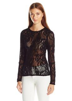 GUESS Women's Long Sleeve Deena Lace Top  XS