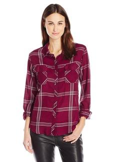 GUESS Women's Long Sleeve Dylan Autumn Plaid Shirt Zinfandel S