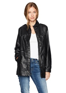 GUESS Women's Long Sleeve Edison Perferated Pu Jacket