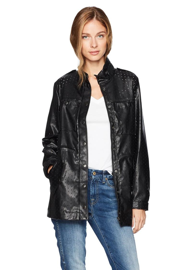 GUESS Women's Long Sleeve Edison Perferated Pu Jacket