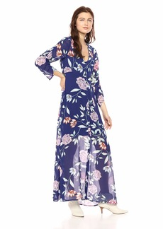 GUESS Women's Long Sleeve Eliza Dress Cosmic Floral deep Ink M