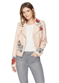 GUESS Women's Long Sleeve Embroidered Moto Jacket  M