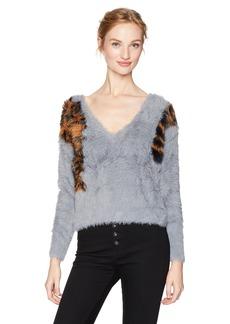 GUESS Women's Long Sleeve EMI Animal Intarsia Sweater