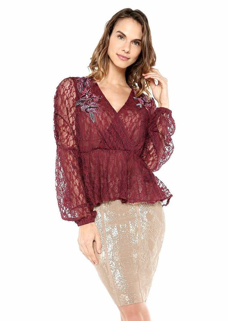 GUESS Women's Long Sleeve Estelle Lace Top  XL