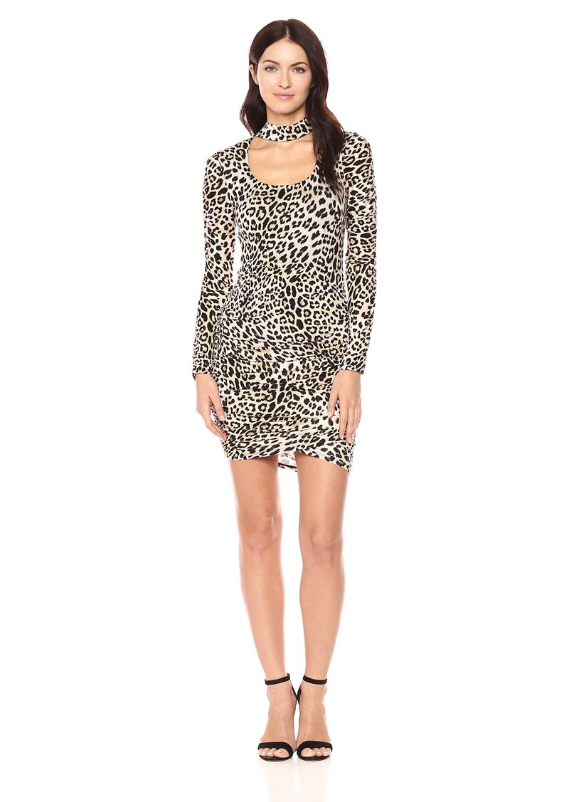 GUESS Women's Long Sleeve Evan Ruched Dress Leo camo Natural M