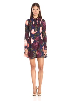 GUESS Women's Long Sleeve Floral Print Madalyn Bow Tie Dress