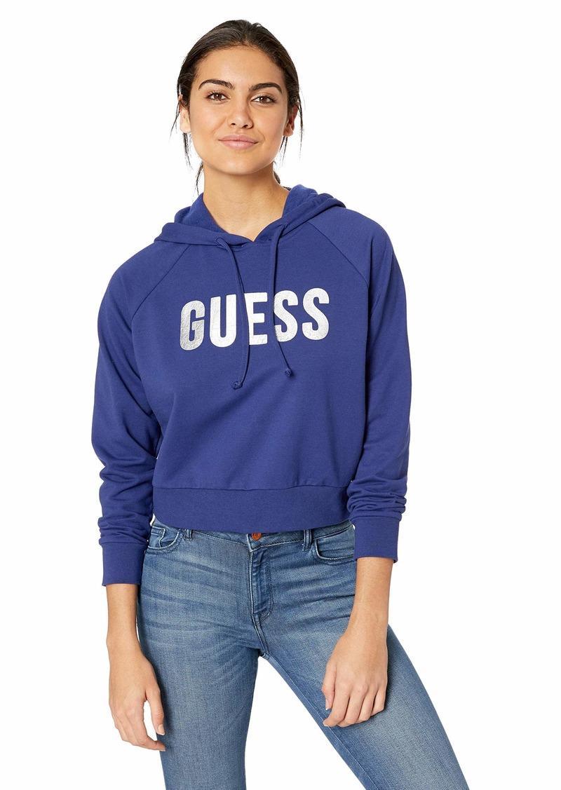 GUESS Women's Long Sleeve Foil Logo Hoodie deep Ink S