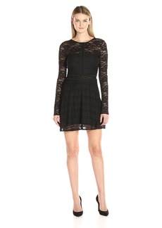 GUESS Women's Long Sleeve Francis Ruffle Lace Dress Jet Black A