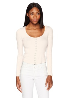 GUESS Women's Long Sleeve Francisca Rib Top  XL