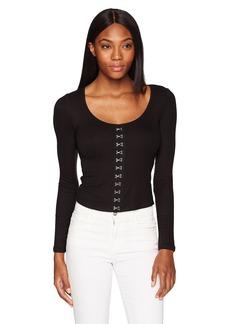 GUESS Women's Long Sleeve Francisca Rib Top  XS