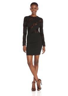 GUESS Women's Long Sleeve Frederikke Spliced Dress  S