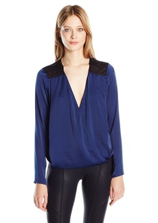 Guess Women's Long Sleeve Glenda Drapey Low V Top  L