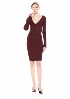 GUESS Women's Long Sleeve Glitz Ring Sweater Dress  XL
