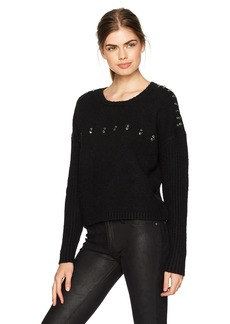 GUESS Women's Long Sleeve Grommet Ring Ribbed Mix Sweater