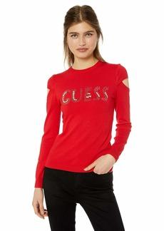 GUESS Women's Long Sleeve Holly Baroque Logo Sweater Scarlett red L