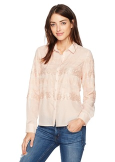 GUESS Women's Long Sleeve Iman Lace Button Up