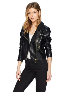 Guess Women's Long Sleeve Jaden Moto Jacket Outerwear -jet black a L