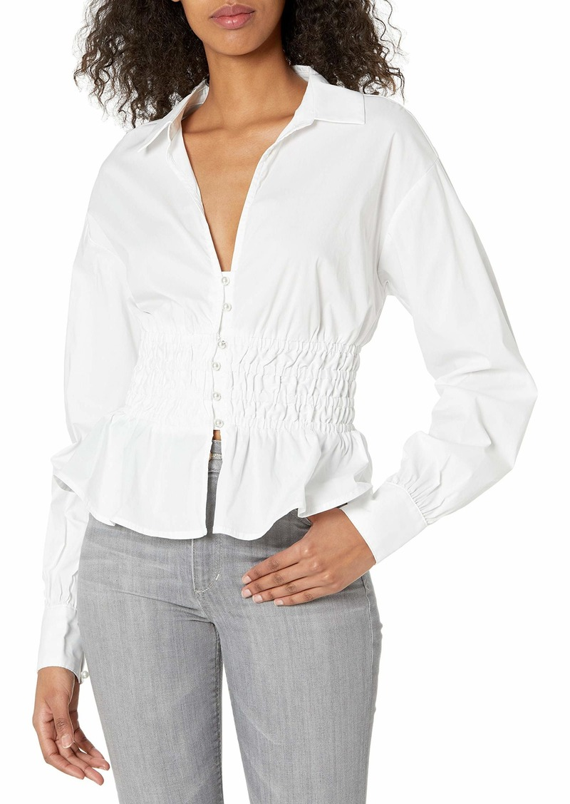 GUESS Women's Long Sleeve Jane Button Down Shirred Shirt  Extra Small