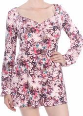 GUESS Women's Long Sleeve Jewell Romper Hyper Bloom Print Rose dust XL