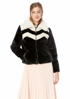 GUESS Women's Long Sleeve Joely Faux Fur Jacket  a S