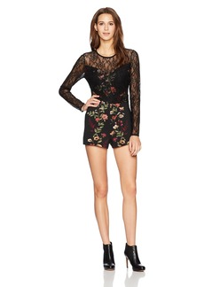 GUESS Women's Long Sleeve Jolissa Lace Mix Romper  L